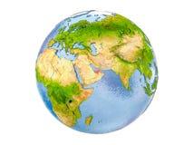 Gli Emirati Arabi Uniti sul globo isolato Fotografia Stock