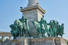 Gli eroi quadrano a Budapest, il millennio commemorativo, vista parziale Immagine Stock Libera da Diritti