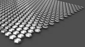 Gli esagoni d'acciaio che levitano sopra la superficie di gray Priorità bassa industriale astratta Immagini Stock