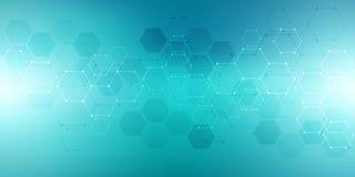 Gli esagoni progettano per medico, scienza e tecnologia digitale Fondo astratto geometrico con la struttura molecolare e illustrazione vettoriale