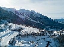 Gli hotel nelle montagne in Soci Immagini Stock
