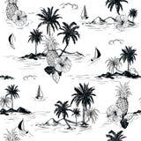 Gli ibischi hawaiani dell'umore dell'isola in bianco e nero dell'estate fioriscono, plam illustrazione di stock