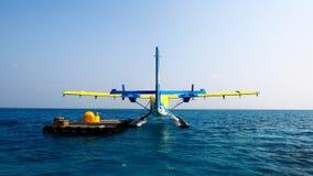 Gli idrovolanti delle Maldive Fotografia Stock
