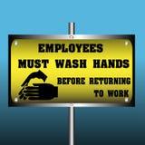 Gli impiegati devono lavarsi le mani Fotografia Stock