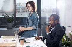 Gli impiegati professionisti piacevoli stanno lavorando in ufficio Immagine Stock Libera da Diritti