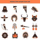 Gli indiani cronometrano le icone semplici messe Fotografie Stock Libere da Diritti
