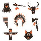 Gli indiani cronometrano le icone semplici messe Fotografia Stock