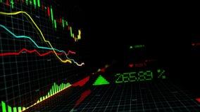 Gli indici del mercato azionario stanno muovendo nello spazio virtuale Sviluppo economico, recessione collegato illustrazione di stock