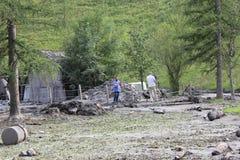 Gli infangamenti sfregiano i pendii di collina dell'Austria che seguono la pioggia persistente Fotografie Stock Libere da Diritti