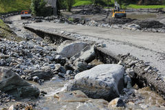 Gli infangamenti sfregiano i pendii di collina dell'Austria che seguono la pioggia persistente UE Fotografie Stock Libere da Diritti