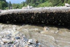 Gli infangamenti sfregiano i pendii di collina dell'Austria che seguono la pioggia persistente UE Fotografia Stock