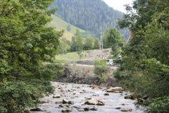Gli infangamenti sfregiano i pendii di collina dell'Austria che seguono la pioggia persistente UE Fotografie Stock