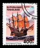 Gli inglesi del XVI secolo spediscono, serie delle navi di navigazione, circa 1999 Immagine Stock