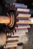 Gli ingranaggi industriali d'annata spingono dentro la seppia Fotografia Stock