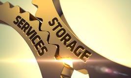 Gli ingranaggi metallici dorati con stoccaggio assiste il concetto 3d Immagine Stock Libera da Diritti