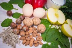 Gli ingredienti dei piatti che contengono vitamina E Una dieta sana fotografie stock libere da diritti