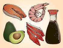 Gli ingredienti dei sushi hanno impostato illustrazione di stock