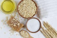 Gli ingredienti naturali per il fronte di corpo casalingo della farina d'avena sfregano immagine stock libera da diritti