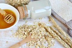 Gli ingredienti naturali per il latte casalingo del fronte di corpo dell'avena sfregano fotografia stock