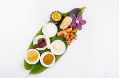 Gli ingredienti per il corpo sfrega, sfregano il vostro fronte con curcuma e Tanaka, miele, tamarindo e yogurt. immagini stock