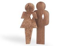 Gli innamorati equipaggiano e donna di legno, isolato su fondo bianco Fotografia Stock