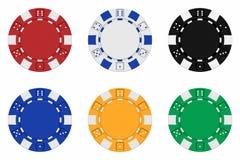 Gli insiemi di 3d hanno reso i chip colorati del casinò Fotografie Stock
