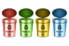 Gli insiemi di riciclano gli scomparti Fotografia Stock
