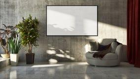 Gli interni luminosi moderni con derisione sul manifesto incorniciano l'illustrazione 3 immagini stock