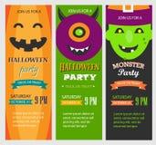 Gli inviti del partito di Halloween, insegne verticali mettono, vector Immagine Stock Libera da Diritti