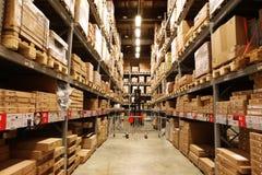 Gli ipermercati, logistica concentra, immagazzinare, accantonante le merci su esposizione, immagini stock libere da diritti