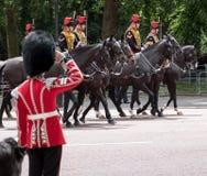 Gli Irlandesi custodicono i saluti come passaggio della cavalleria della famiglia nella parte anteriore alla parata radunare di c immagine stock