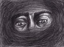 Gli occhi circondati da nerezza ricorda l'indicatore luminoso royalty illustrazione gratis