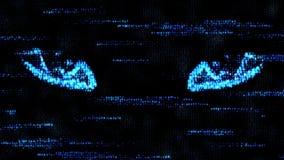 Gli occhi di un pirata informatico Alla spia sul computer Incisione del codice macchina Fotografie Stock