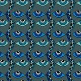 Gli occhi pescano il modello senza cuciture astratto Fotografie Stock