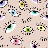 Gli occhi scarabocchiano il modello senza cuciture disegnato a mano di vettore Occhio chiuso ed aperto Il modello per il tessuto, royalty illustrazione gratis