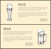 Gli oggetti della birra hanno fissato gli schizzi disegnati a mano di vettore illustrazione di stock
