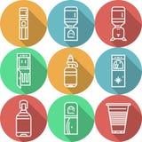 Gli oggetti per i dispositivi di raffreddamento di acqua hanno colorato le icone Fotografia Stock