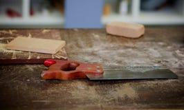 Gli operai di legno bench la parte superiore Fotografia Stock Libera da Diritti