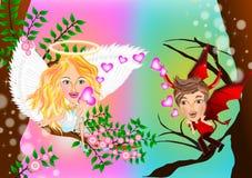 Gli opposti attirano fra l'angelo ed il diavolo illustrazione vettoriale