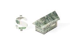Gli origami alloggiano e dollaro Immagini Stock Libere da Diritti