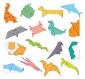 Gli origami degli animali hanno messo della decorazione creativa 2d degli animali selvatici Immagini Stock Libere da Diritti