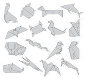 Gli origami degli animali hanno messo della decorazione creativa 2d degli animali selvatici Immagini Stock