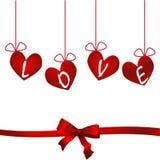 Gli origami di carta della carta di arte di amore di vettore del giorno di biglietti di S. Valentino dei cuori disegnano l'illust Fotografia Stock