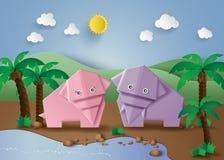 Gli origami hanno fatto l'elefante illustrazione vettoriale
