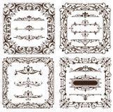 Gli ornamenti d'annata degli elementi di progettazione incorniciano autoadesivi dei bordi degli angoli i retro e l'illustrazione  illustrazione di stock