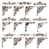 Gli ornamenti d'annata degli elementi di progettazione incorniciano autoadesivi dei bordi degli angoli i retro e l'illustrazione  illustrazione vettoriale