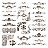 Gli ornamenti d'annata degli elementi di progettazione incorniciano autoadesivi dei bordi degli angoli i retro e l'illustrazione  royalty illustrazione gratis