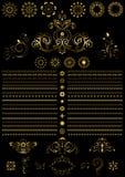 Gli ornamenti rotondi di calligrafia d'annata dell'oro e rasentano il fondo nero Fotografie Stock Libere da Diritti