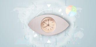 Gli orologi con il mondo cronometrano e finanziano il concetto di affari Fotografia Stock