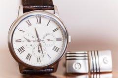 Gli orologi degli uomini Fotografia Stock